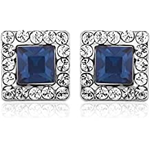 Anazoz Womens Earrings, Stud Earrings for Womens Princess Cut Sapphire Cubic Zirconia Surrounded by White CZ