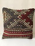 Kilim Pillow 16'' x 16'' Anatolian Turkish Cushion Cover (40cm x 40cm), sofa pillow, couch pillow, embroidered, handmade, kilim rug,