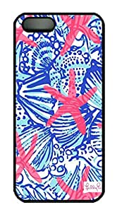 Starfish Summer Shells Pattern Design for Iphone 5S Case in PC Black Material(J One)