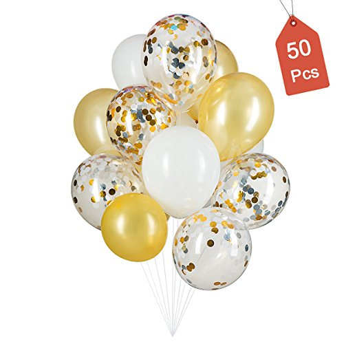 Gold, Confetti and White Balloons – Pack of 50, Great for Weddings Birthdays Bridal Shower Decorations Graduation Party Decorations Supplies 3 Style, 12 Inch
