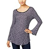 Style & Co.. Womens Petites Lace-up Bell Sleeeves Pullover Top Blue PXL