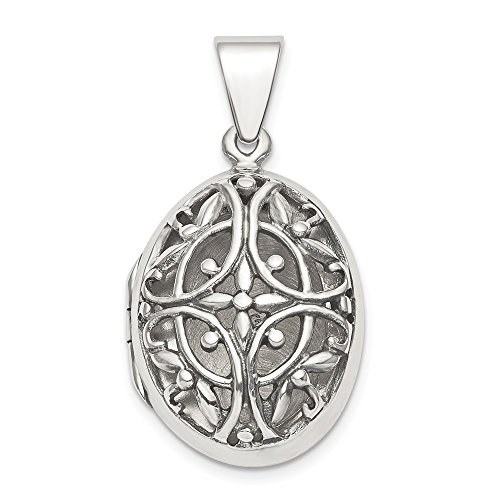 (925 Sterling Silver Filigree 17mm Oval Photo Pendant Charm Locket Chain Necklace That Holds Pictures Fine Jewelry Gifts For Women For Her)
