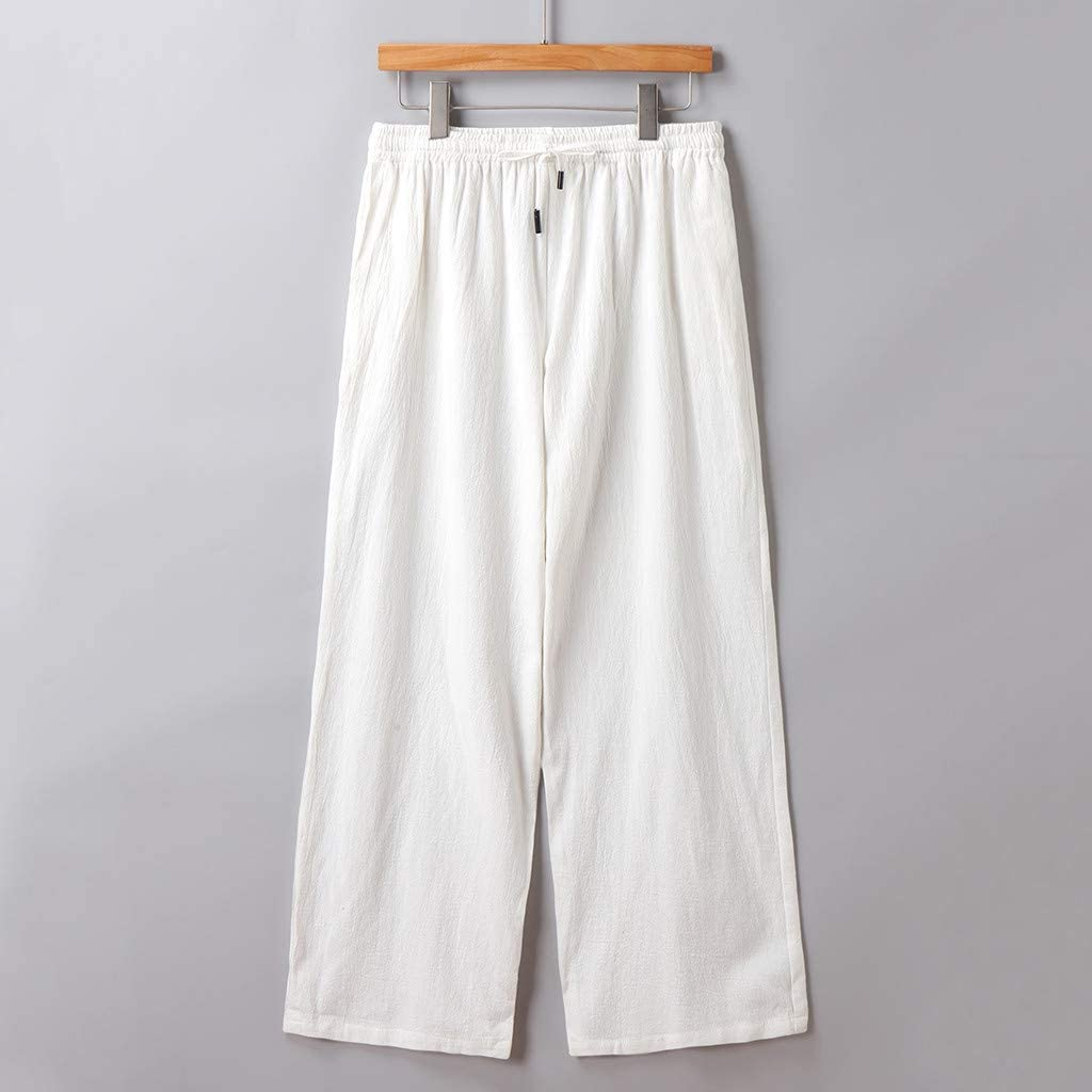 【2019 New】 Mens Cotton Sweatpants,Summer Casual Loose Baggy Solid Outdoor Pants Linen Style Trouser