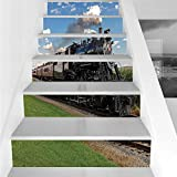 Stair Stickers Wall Stickers,6 PCS Self-adhesive,Steam Engine,Vintage Locomotive in Countryside Scenery Green Grass Puff Train Picture,Blue Green Black,Stair Riser Decal for Living Room, Hall, Kids Ro