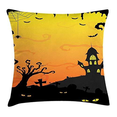 (MHKLTA Halloween Throw Pillow Cushion Cover, Halloween at Gothic Castle Creepy Yellow Eyes in Forest, Decorative Square Accent Pillow Case, 18 X 18 Inches, Mustard Yellow Pale Orange and)