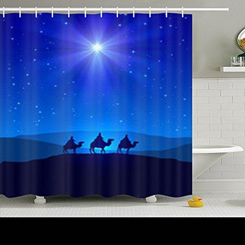NOWCustom Home Decor Shower Curtains Christian Christmas Night Shining Star On Holidays Wise People Nativity Jesus