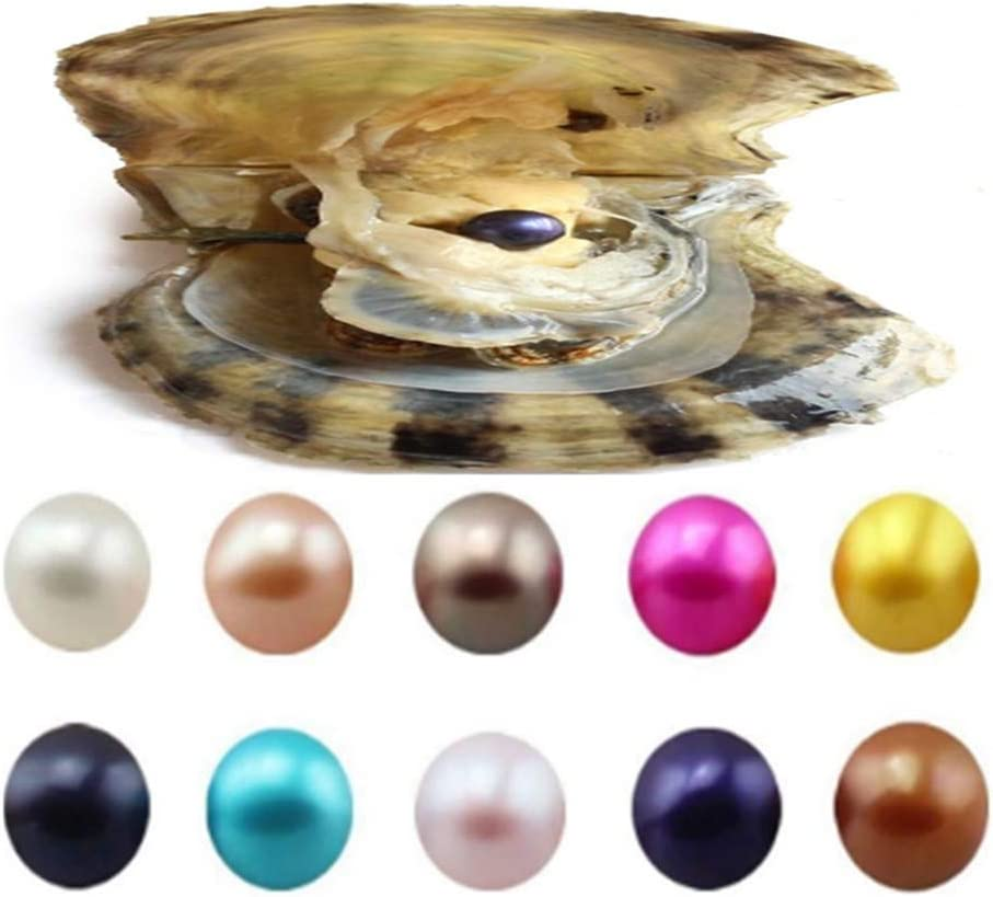 10PC Akoya Love Wish Pearl Oysters with Round Pearl Inside 10 Color Saltwater Cultured (7-8mm), Birthday Mothers Christmas Gift Pearl Wedding Party