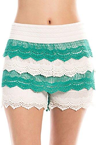 M USA Women's Crochet Scalloped Trim Tiered Shorts Knit Lace Skorts Skirts Pants (S/M, Jade) ()