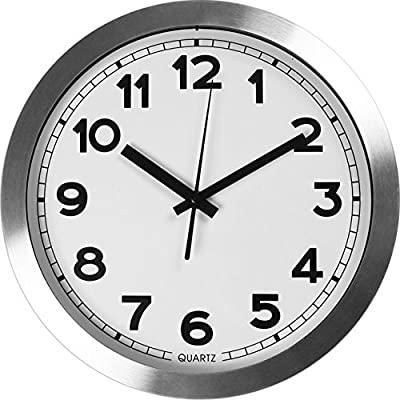 Large Indoor/Outdoor Decorative Silver Wall Clock - Universal Modern Quartz Design Non - Ticking & Silent 12-Inch Wall Clock - by Utopia Home