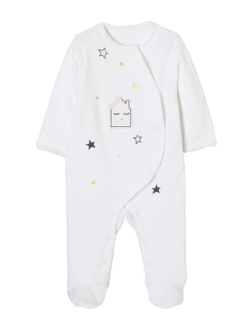0cb25256c9 VERTBAUDET Lote de 2 pijamas estampados de terciopelo automáticos delante  bebé Blanco claro bicolor multicolo