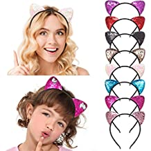 QtGirl Mermaid Sequin Headbands Reversible Sequins Cat Ears Headband Hair Band Costume for Girls Party Favor Pack of 8