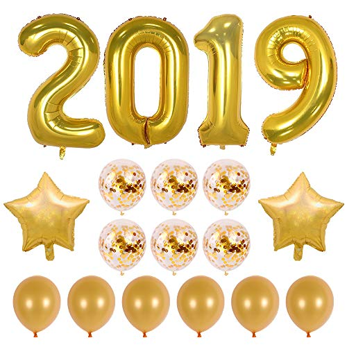 40inch Gold 2019 Balloons Graduation Party Balloons with Gold Confetti Balloons 18inch Star Balloons for New Year Party Grad Event Anniversary Party Decorations (Gold) -