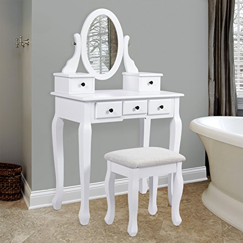 Best Choice Products: Bathroom Vanity Table Jewelry Makeup Desk Hair Dressing Organizer Drawer.