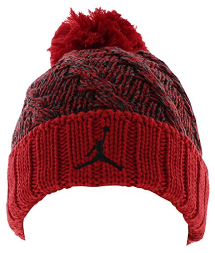 (Jordan Mens Jumpman Cable Beanie Hat Red One Size)
