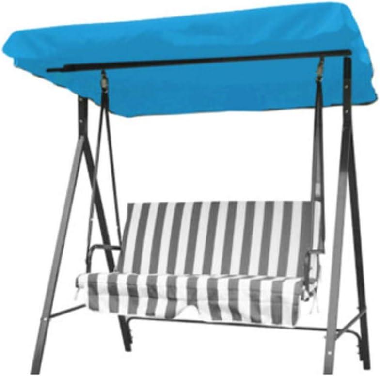 Nobrannd UV y Resistente 3 Seaters oscilación reemplazo Silla de jardín Hamaca Anti-Ultravioleta del pabellón Azul de la Cubierta de Repuesto Oscilaciones del Dosel (Color : Blue, Size : One Size)