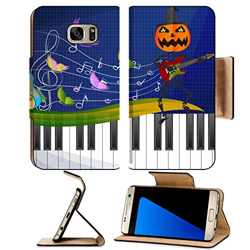 Luxlady Premium Samsung Galaxy S7 EDGE Flip Pu Leather Wallet Case IMAGE ID: 39862366 Pumpkin headed skeleton playing (Unique Group Costumes Ideas)