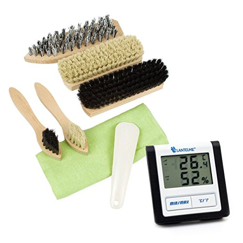Lantelme 6048 Reiseutesilien Set Digitalthermometer und Reise Schuhputzset - Digital Thermometer mit Hygrometer und Min Max Temperaturanzeige