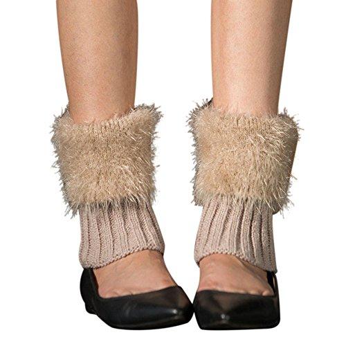 Value Village Costumes For Girls (Women Winter Slouch Boot Socks With Flaux Fur Cuffs, Crochet Knit Xander Warmer Leggings (Black))