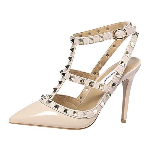 2aac5e77570ad4 Huatime Stiletto Strappy Sandales Chaussures - Pointu Femmes Mode Talons  Hauts Bretelles à La Cheville Goujons