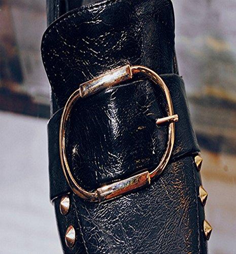 Remaches Negro Tian Cuadrado Pie Inglaterra Estilo Del Dedo De Zapatos Cómoda caHazvqw1