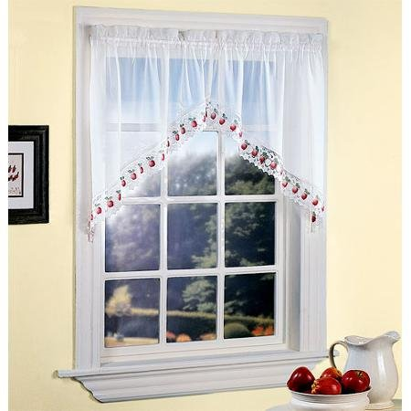 Apple Orchard Sheer Voile Kitchen Swag, White