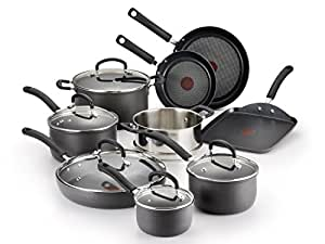 T-fal E765SE Ultimate Hard Anodized Scratch Resistant Titanium Nonstick Thermo-Spot Heat Indicator Anti-Warp Base Dishwasher Safe Oven Safe PFOA Free Cookware Set, 14-Piece, Gray