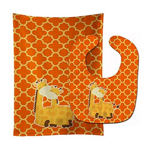 Caroline's Treasures Giraffes Baby Bib & Burp Cloth, Multicolor, Large