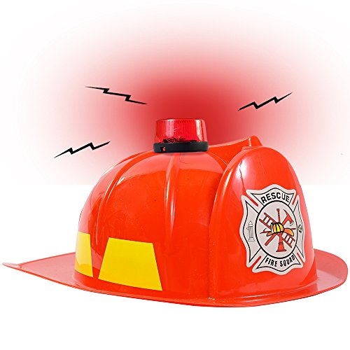 Dress up Hats for Kids - Role Play Police and Fireman Hat with Light (Red Fireman Hat) by Funny Party Hats