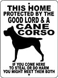 Cane Corso Guard Dog  Sign 9-Inch x 12-Inch Aluminum with 2 holes for easy Mounting