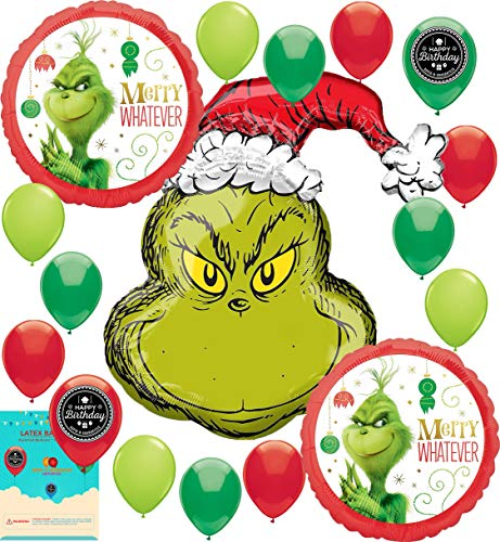 The Grinch Christmas Party Supplies Birthday Balloon Bundle