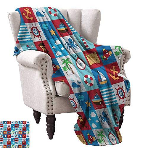 - WinfreyDecor Kids Reversible Blanket Cartoon Style Nautical Icons and Animals Maritime Sea Life Pirates Joyful Collection Sofa Chair 60