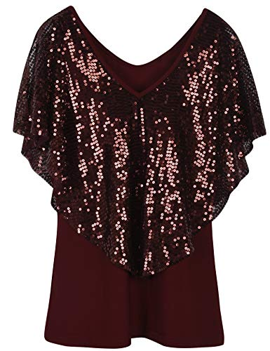 Sequined Overlay - PrettyGuide Women's Cold Shoulder Tops Sequined Cape Stretchy Shimmer Blouse Tops S Burgundy