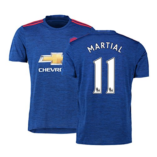 FC Football Jersey Manchester United Soccer Jersey Away Shirt 2016-17 Mens #11 Martial Blue XL