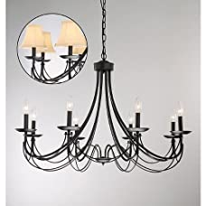 Jojospring Iron 8-light Black Chandelier