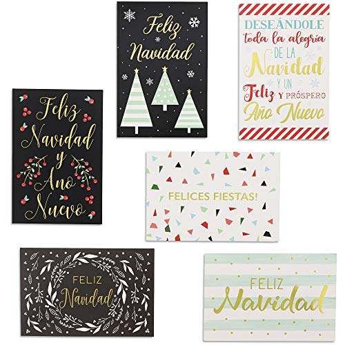 Sustainable Greetings Spanish Christmas Cards with Gold Foil Print (4 x 6 in, 6 Designs, 36 Pack) (Foil Christmas Cards Print)