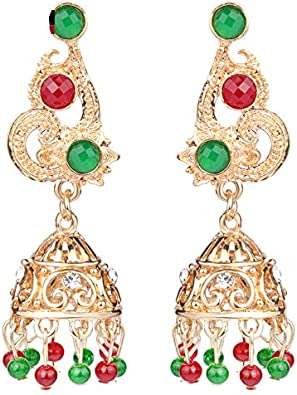 Vintage Look Natural Stone Abalorios Resina Cristal Campana Colgante Tornillo Pendientes Oro Color Turco Joyería Antigua