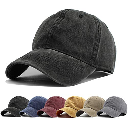 (HH HOFNEN Men Women Washed Twill Cotton Baseball Cap Vintage Adjustable Dad Hat)