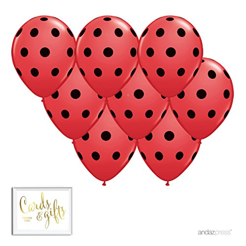 Andaz Press Printed Latex Balloon Party Kit with Gold Cards & Gifts Sign, Red with Black Polka Dots, 8-Pk, for Ladybug Themed Birthday