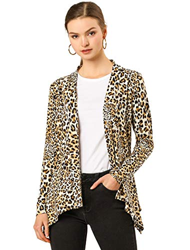 Allegra K Womens Long Sleeves Open Front Leopard Prints Cardigan