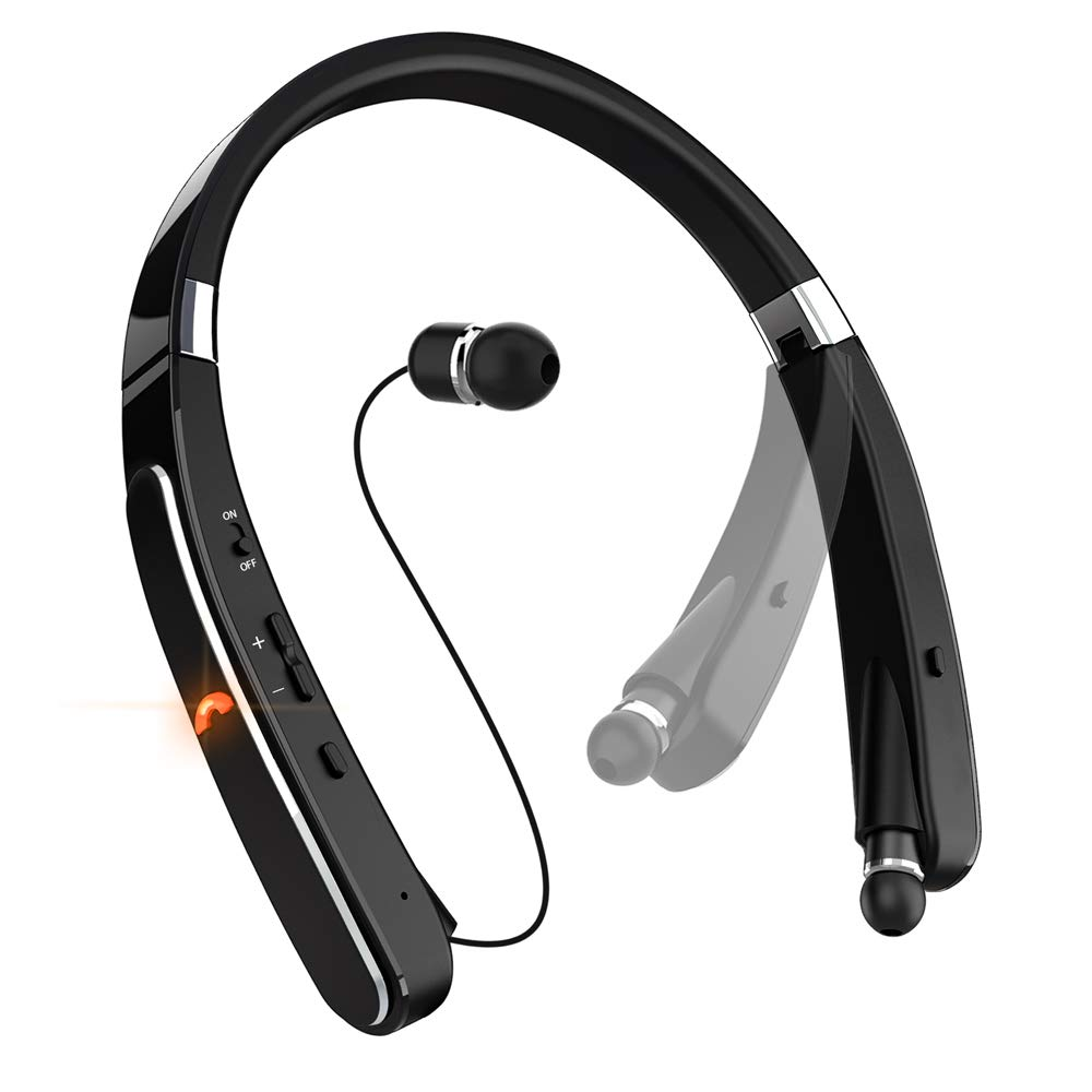 Neckband Bluetooth Headset, Pandawill [30 Hours Playtime] Wireless Bluetooth Headphones compatible for iPhone XS/X/8/7 Plus Samsung Galaxy S8 Note 8 Other Bluetooth Enabled Devices (Black) …