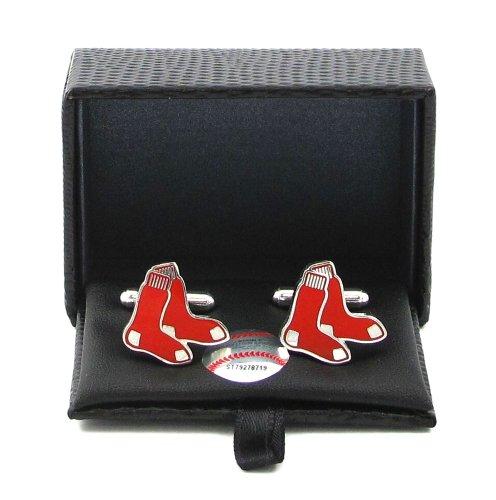 MLB Boston Red Sox Cut Out Logo Cuff Links (Sox Red Boston Cufflinks Silver)