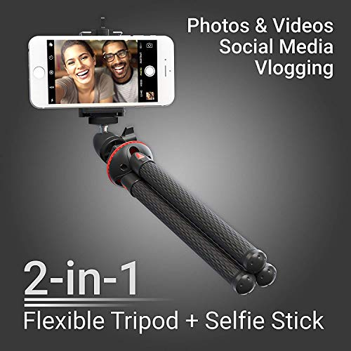 Camera Tripod,Flexible Cell Phone Tripod Stand with Ball-Head 360°,Compatible with iPhone,Android,Samsung,Google Smartphones,and Almost Mobile Phone