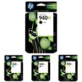 HP 940XL Black and HP 940XL Cyan/Magenta/Yellow Ink Cartridge Bundle (C4906AN, C4907AN, C4908AN, C4909AN)
