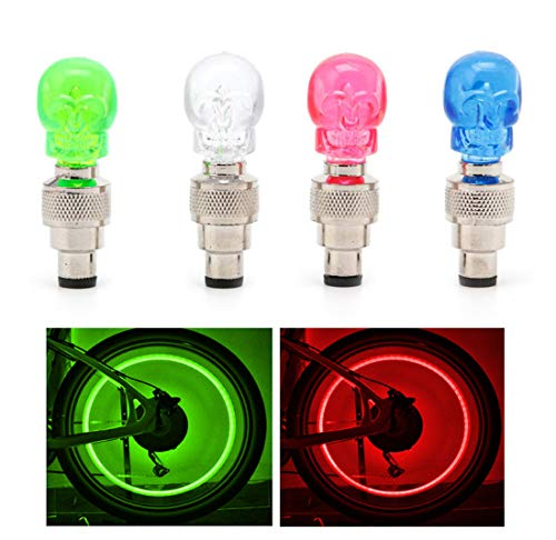 Gechiqno 4 Pairs LED Multi-Color Wheel Lights - Car Bike Wheel Tire Tyre Valve Dust Cap, Safety, Waterproof, Motion Activated, Spoke Flash Lights Car Valve Stems & Caps Accessories