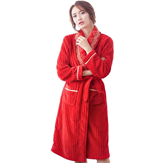 Ladies 100% Luxury Long Dressing Gown Red Coral Fleece Thick ...