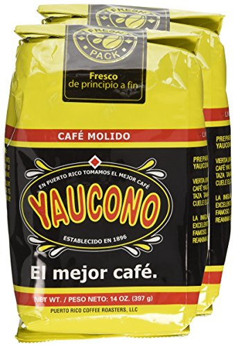Two 14 Oz. Coffee Bags Package Puerto Rican Coffee / Cafe Yaucono De Puerto Rico 2 Bolsas 14 Oz.