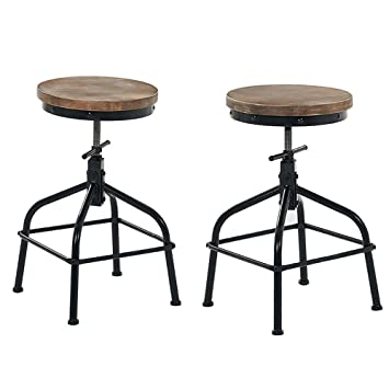 Outstanding Joelgium Rustic Industrial Swivel Bar Stools Set Of 2 Adjustable Height Stools For Kitchen Counter Stool Chair Counter Stools Set Of 2 Pdpeps Interior Chair Design Pdpepsorg