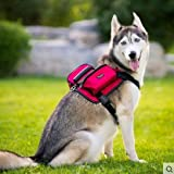 BONAWEN Dog Saddle Bag for Large Dogs, Adjustable 600D Oxford Fabric, Large Capacity Reflective Dog Backpack for Hiking Camping Training(Red,XL)