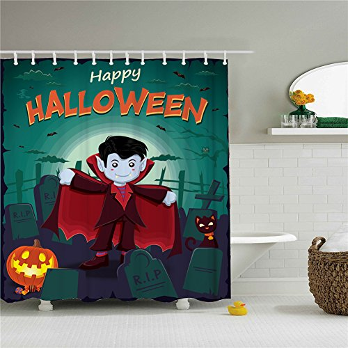 Happy Halloween Vampire Shower Curtain,Polyester Waterproof Shower Curtain 12 Hooks Included, Bathroom Accessories, 72