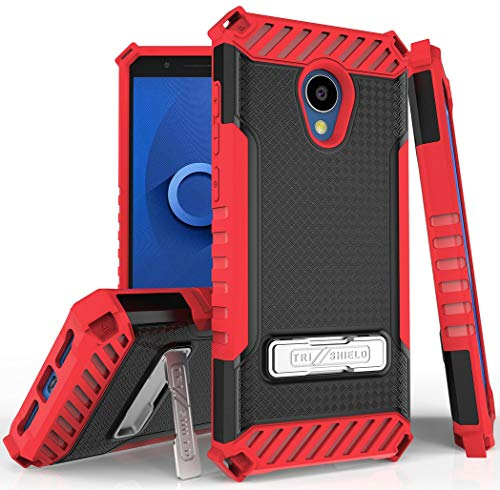Red Tri-Shield Rugged Case Cover [with Metal Kickstand + Wrist Strap Lanyard] for Alcatel TCL LX, A502DCP, A502DL (TracFone/Straight Talk/Simple Mobile/Total/Walmart Family)